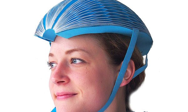 The EcoHelmet. Its honeycomb design gives it strength. Photograph